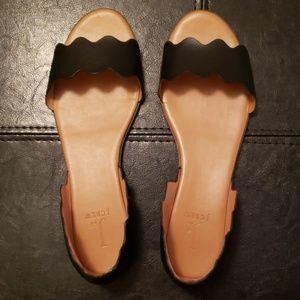 Jcrew Factory Wms Size 9.5 Black Peep-toe Flats